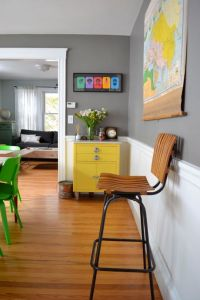 gray walls light wood floors and pops of colour using ...