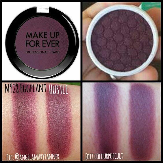 Dupes Makeup Forever EGGPLANT M980 and colourpop hustle i