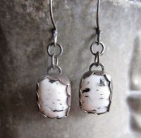 White Buffalo Turquoise Sterling Earrings | Elk ivory ...