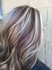 blonde highlights with purple lowlights