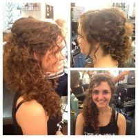 Natural curly hair swept to the side Wedding hair by Joni