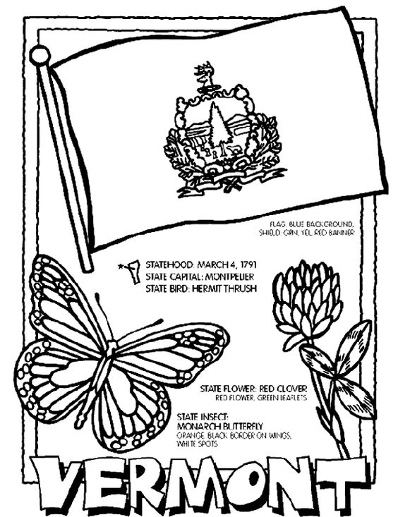 Vermont page. 1. Color the flag background blue. Color the