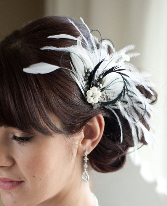 Wedding Hair Accessory Bridal Feather Fascinator Black and Diamond White Hair Accessory