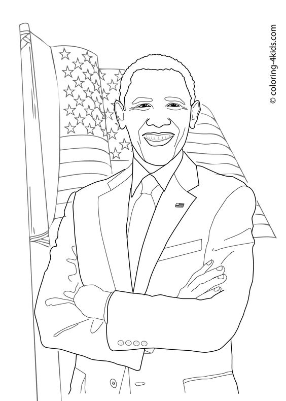 Barack Obama coloring pages for kids, printable free