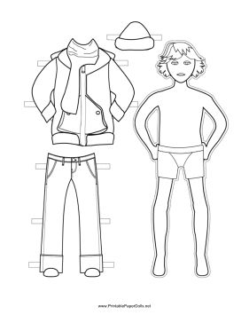 This free, printable Boy Paper Doll has a warm winter