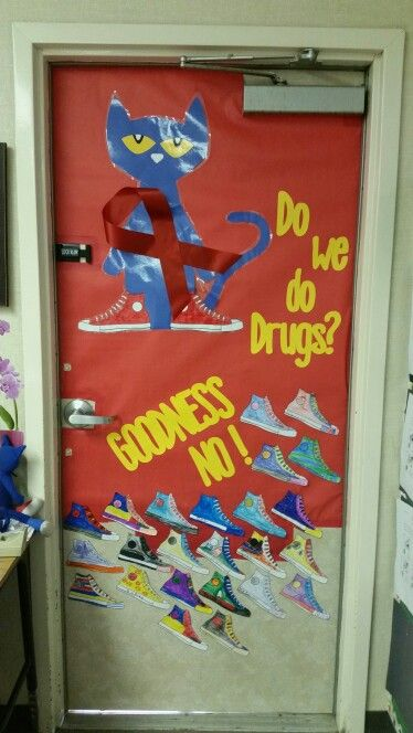 Our 1st grade Pete the Cat Red Ribbon week door