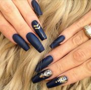 matte navy square tip acrylic nails