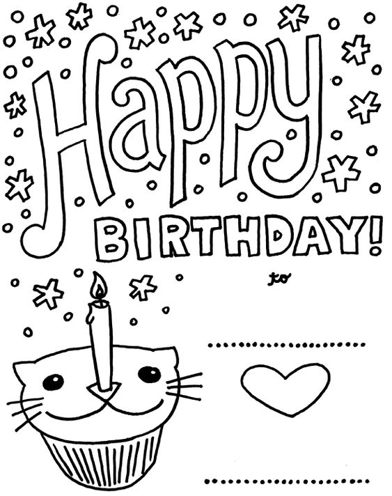 Birthday Card With Pictures Cat Cupcake Coloring Pages