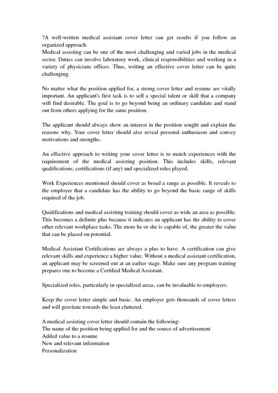 Cover Letter Medical Assistant Cover Letter With No Experience In Summary Essay Of Give You