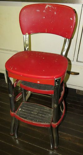 vintage cosco step stool chair white plastic dining chairs 1950s kitchen red vinyl/chrome mid century modern | ...