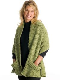 Quick Easy Cozy Crocheted Wrap with pockets pattern ...