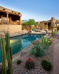 Southwestern Garden Landscape Pool Borders | The Great ...