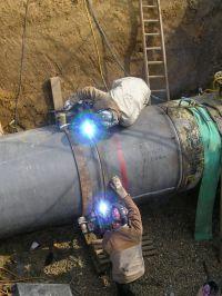 Pipeline Installation. Two way welding by two welders ...