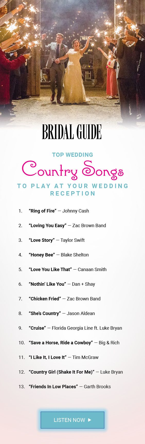 Top 60 Country Songs to Play at Your Wedding  Songs Receptions and Plays