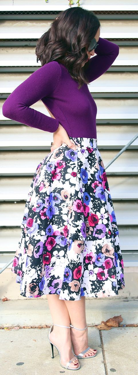 Love everything about this outfit! Purple Multi Full Floral Midi A-skirt by KTRstyle: