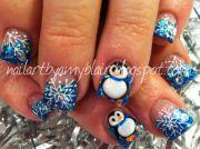 penguin christmas nail art