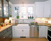 White tile backsplash, Farmhouse kitchens and Rustic