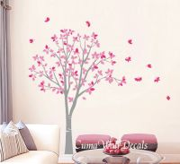Vinyl wall decals pink tree and butterfly Nature Tree Wall ...