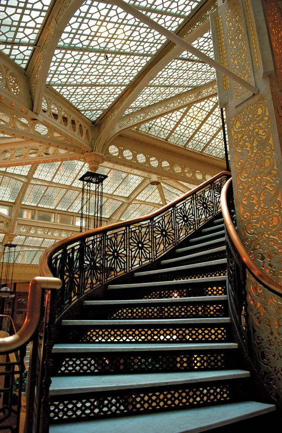 Frank Lloyd Wright Falling Water Wallpaper Staircase Inside The Rookery Building In Chicago Illinois
