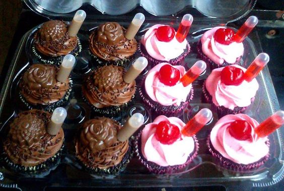 Cupcakes With Pipettes With Alcohol