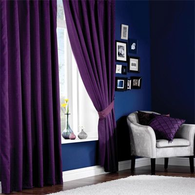 purple curtains and blue walls... Probably would never do
