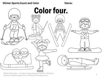 Winter Math Kindergarten Counting & Coloring Worksheets