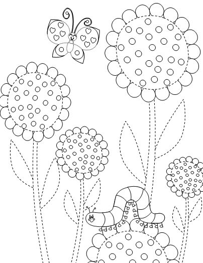 Flowers, butterfly and Caterpillar printable coloring