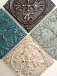 Architectural salvaged distressed cream tin ceiling tile ...