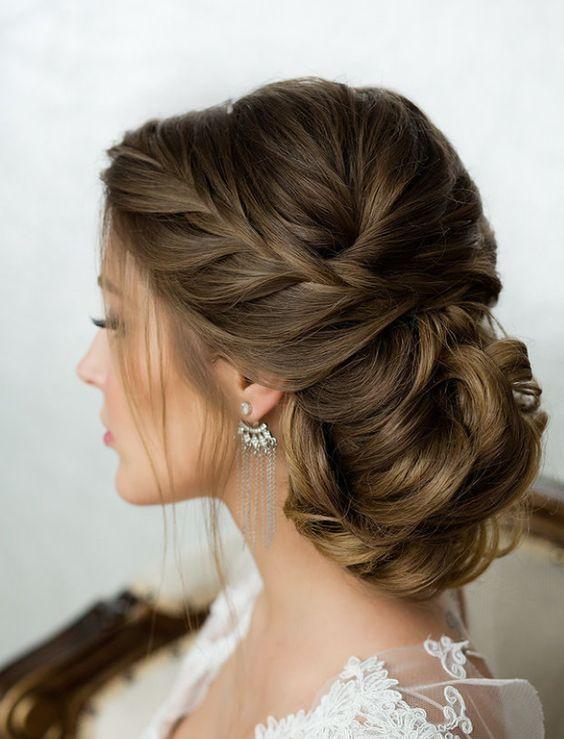 Side French Braid Low Wavy Bun Wedding Hairstyle  Updo