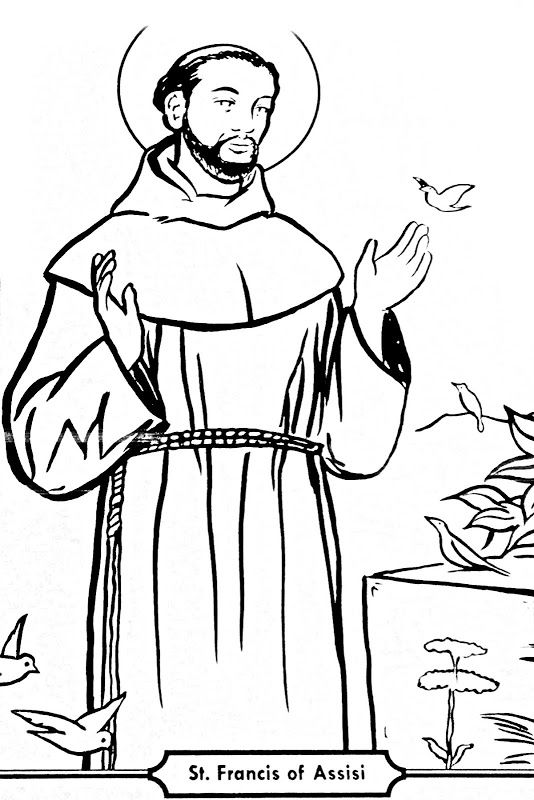 Saint Francis of Assisi Catholic coloring pages. Feast day