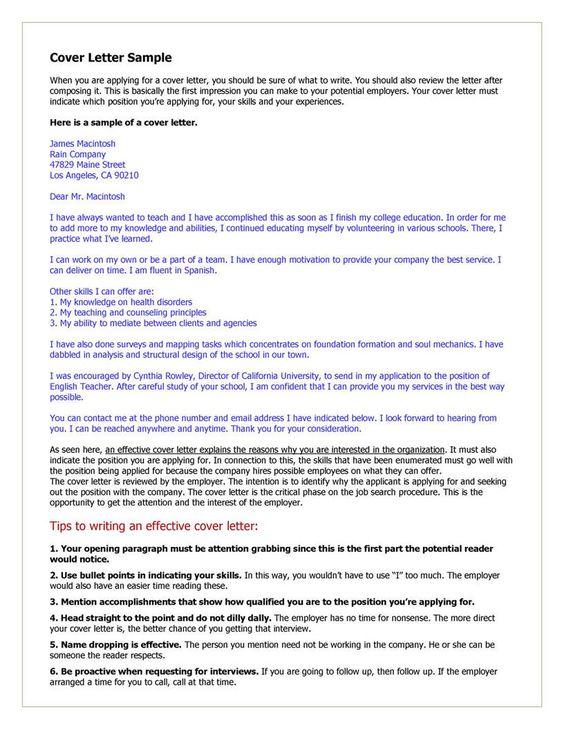 Cover Letter Example for Teacher  Cover Letter Tips  Examples  Pinterest  Teaching Cover