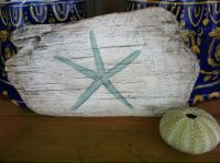 Painted Reclaimed Driftwood Wall Art With Starfish ...