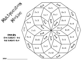 Multiplication Mosaics-Solve and Color By Number Pack