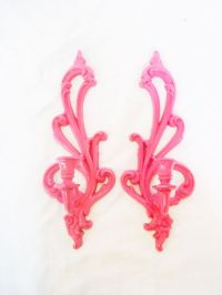 Hollywood Regency Wall Sconces Hot pink Vintage candelabra