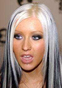 Christina Aguilera's Platinum blonde hair with black ...