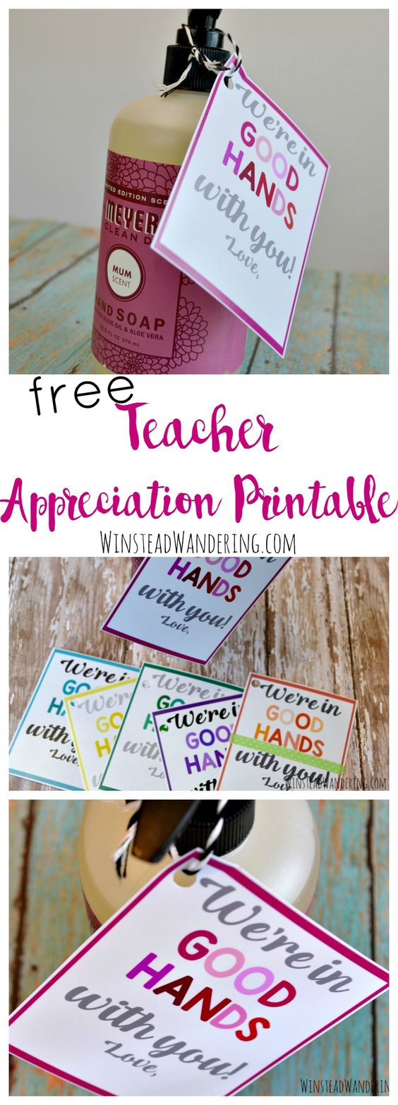 Snag a free teacher appreciation printable in a bunch of fun colors. Find inexpensive gift ideas from a teacher, too!: