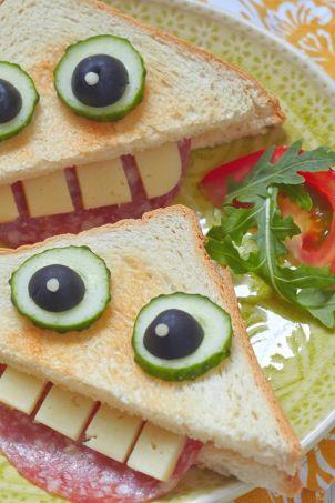 sandwich de monstruos, comida divertida
