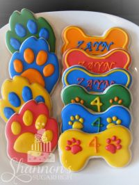 Paw Patrol theme royal icing painted shortbread cookies in