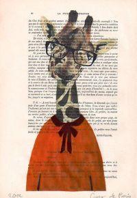 Giraffe Print Illustration Drawing, Original, Art Poster