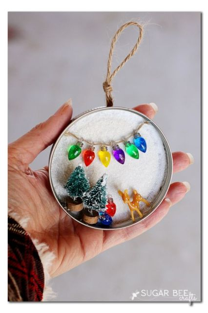 how to make your own mason jar lid snowy scene - this is great for holiday decor or ornaments - - everything miniature is just so extra cute!! - - - Sugar Bee Crafts: