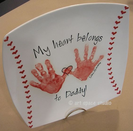 """DIY """"My Heart Belongs to Dad"""" Baseball Plate ~ cute Father's day gift... would also be cute as """"My heart belongs to Grandpa"""":"""