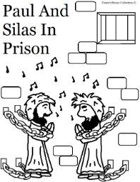 Paul and Silas In Prison coloring pages for Sunday school