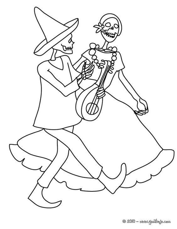 Dibujo Para Colorear Catrina Y Un Esqueleto Bailando