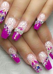 purple white rhinestone nails design