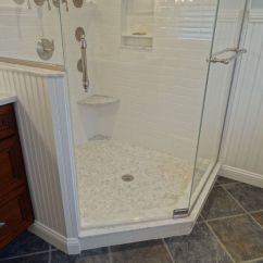 Shower Tub Bench Chair Swing Table Small Foot Rest/shelf In Bathroom Marble/subway Tiles | Pinterest ...