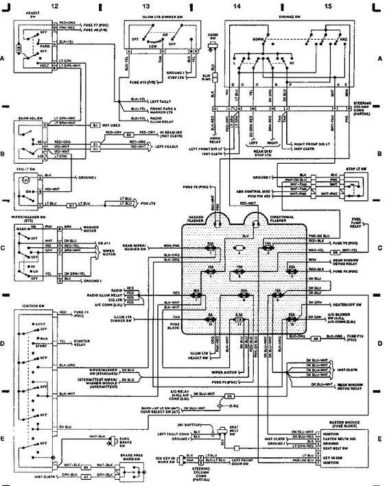 1991 jeep wrangler yj fuse box diagram