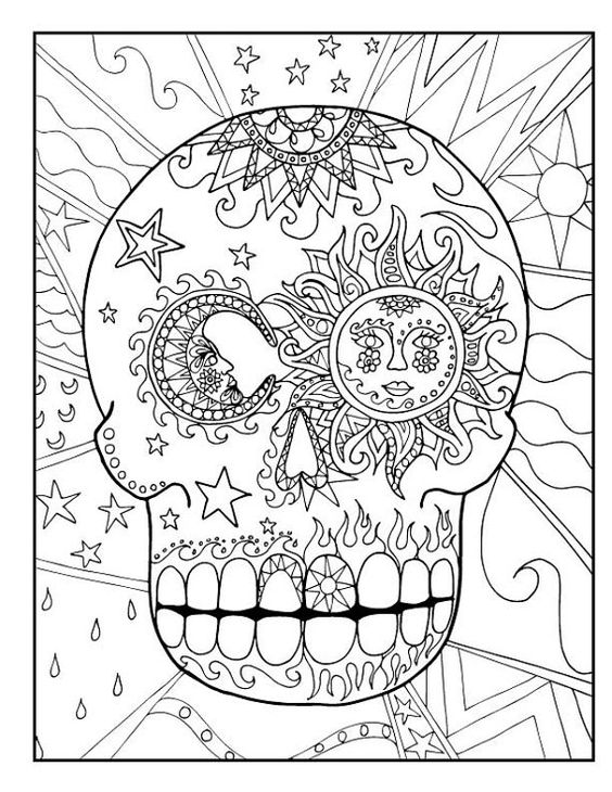 Sugar candy skull coloring pages for kids or adults