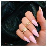Light Pink Almond Acrylic Nails w/ Midi Rings   Acrylic ...