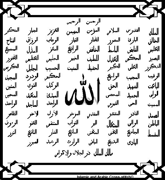 99 Names Of Allah With Meaning Simple