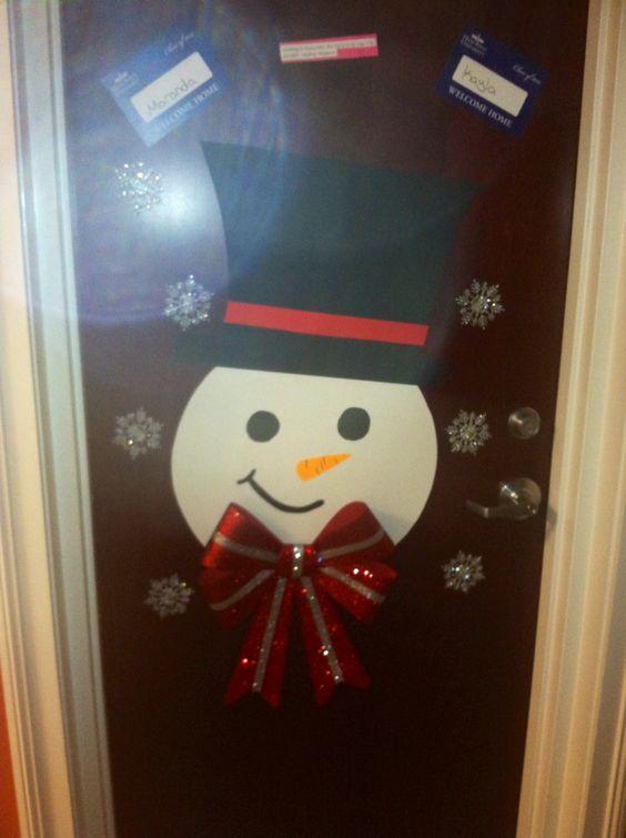Christmas Dorm Door Decor Snowman Cut From Poster Board